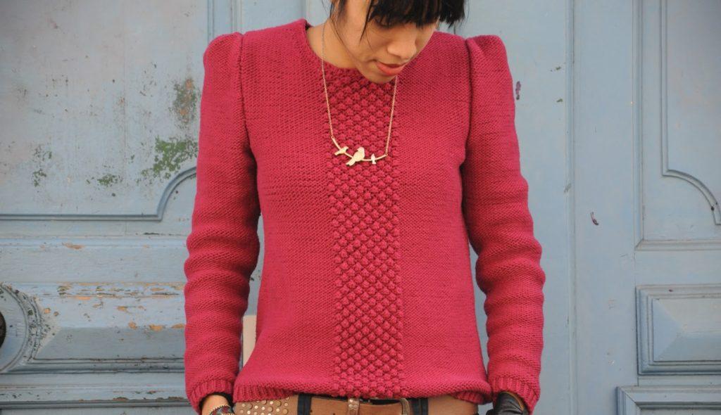 Pull tricoté rouge